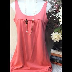 100% coral tank top dress size large
